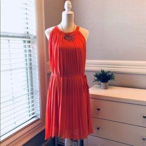 🍑NY & Co XL Coral Pleated Dress